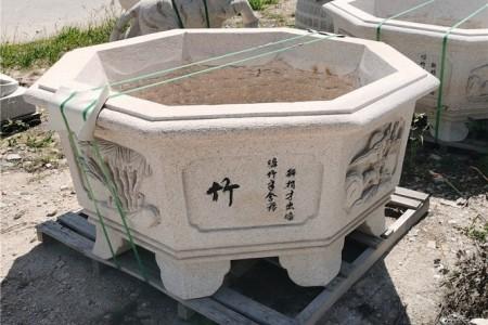 惠安芝麻白花盆梅兰竹菊雕刻花岗岩水缸