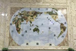 透光墙面世界地图-水刀拼花