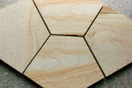 柏坡黄(小米黄)3公分喷砂面拼花